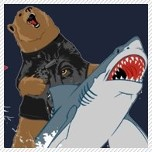 Grizzly Bear Wearing a Wolf Shirt riding a Shark